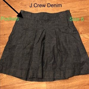 J Crew Dark Denim Skirt w/ Pockets size 6 EUC